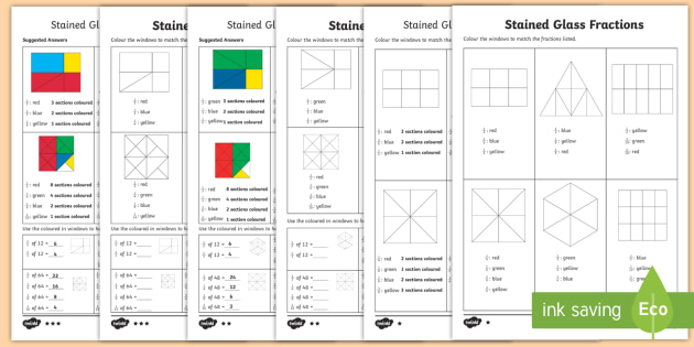 year  stained glass fractions differentiated worksheets  half third year  stained glass fractions differentiated worksheets  half third  quarter fifth