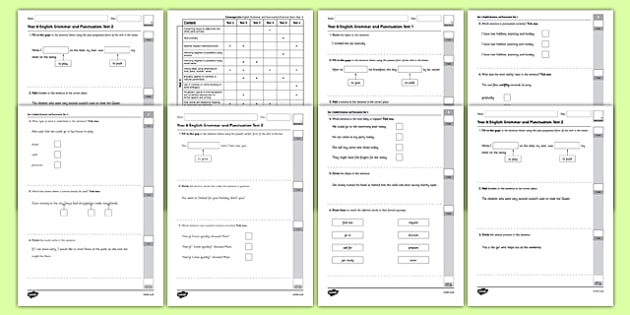 Year 6 English Grammar and Punctuation Practice Test Pack - test, pack