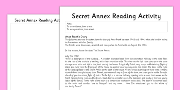 Anne Frank Secret Annex Reading Activity - anne frank, world war 2, nazi, germany, jewish