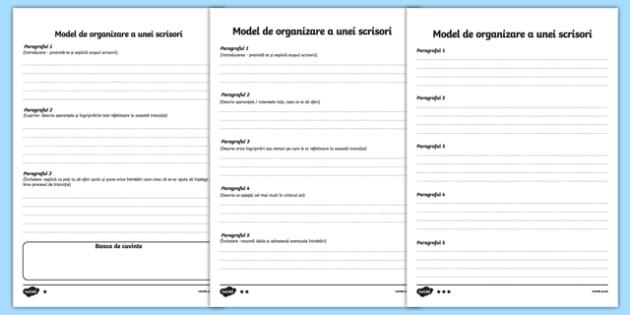 Model de organizare a unei scrisori - Pagină de scris