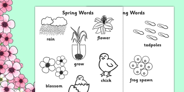 Spring Words Colouring Sheets