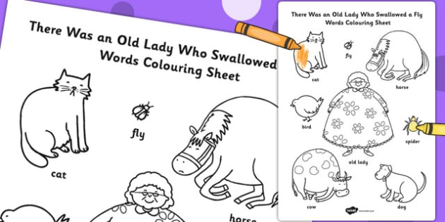 There Was an Old Lady Who Swallowed a Fly Words Colouring Sheet