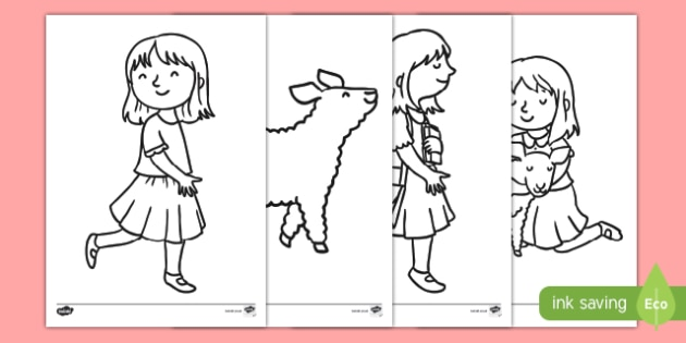 Mary Had a Little Lamb Colouring Pages - mary had a little lamb, nursery rhyme, colouring, colour