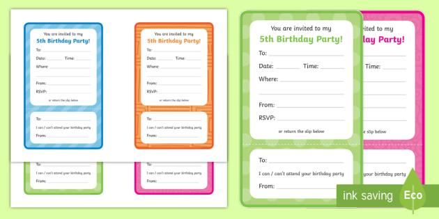 5th Birthday Party Invitations - 5th birthday party, 5th birthday, birthday party,