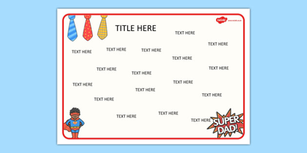 Fathers Day Themed Editable Word Mat - literacy, words, writing