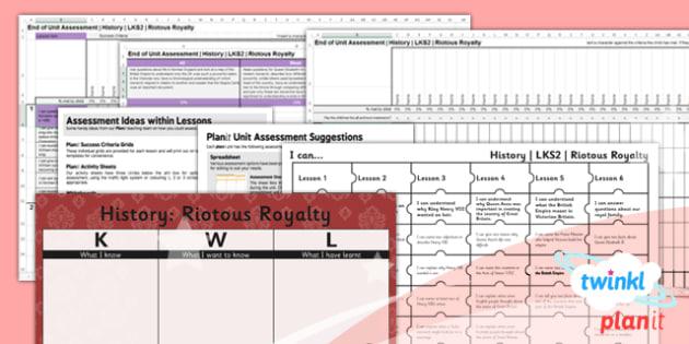 History: Riotous Royalty LKS2 Unit Assessment Pack