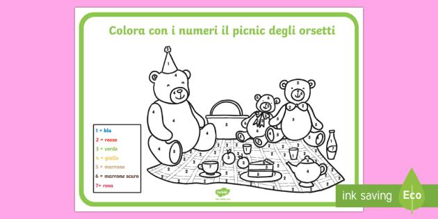 Il Picnic Colora Con I Numeri Per Classe Prima