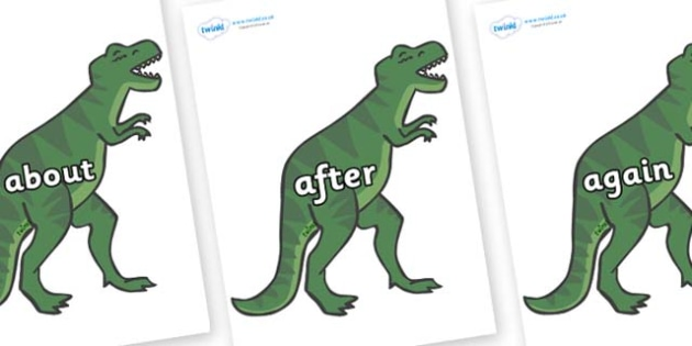 KS1 Keywords on T-Rex - KS1, CLL, Communication language and literacy, Display, Key words, high frequency words, foundation stage literacy, DfES Letters and Sounds, Letters and Sounds, spelling