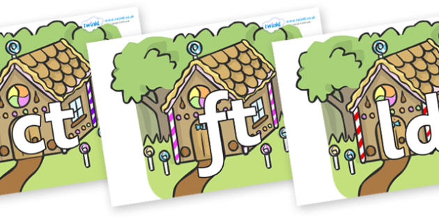 Final Letter Blends on Gingerbread House - Final Letters, final letter, letter blend, letter blends, consonant, consonants, digraph, trigraph, literacy, alphabet, letters, foundation stage literacy