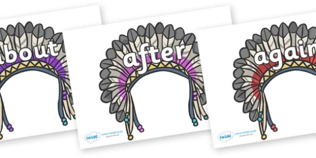 KS1 Keywords on Headdresses - KS1, CLL, Communication language and literacy, Display, Key words, high frequency words, foundation stage literacy, DfES Letters and Sounds, Letters and Sounds, spelling