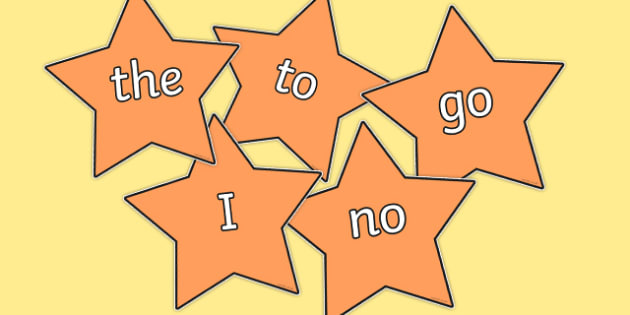 Phase 2 Coloured Tricky Words on Stars - phase 2, coloured, tricky words
