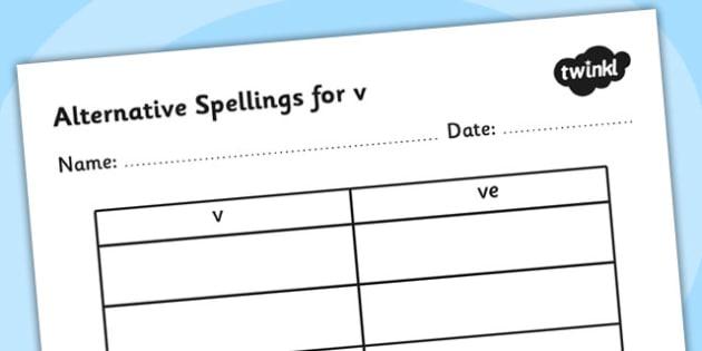 Alternative Spellings for v Table Worksheet-alternative spellings, v, worksheet, v spellings, spellings table, spellings, different spellings, literacy