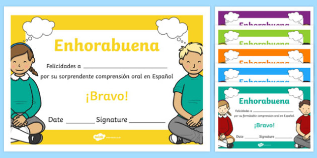 Spanish End of Year Listening Comprehension Award Certificate