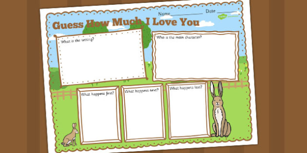 How Much Do I Love You Story Review Writing Frame - Much, Love