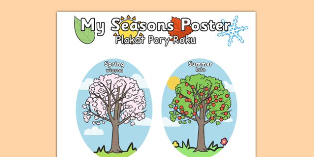 4 Seasons A4 Polish Translation - polish, 4 seasons, a4, season, summer, winter, autumn, spring