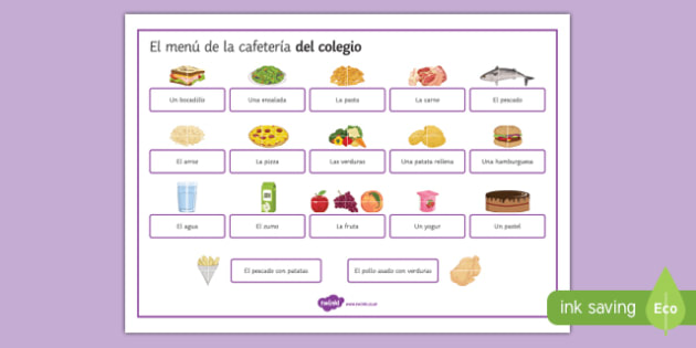 Food and Meals at the School Canteen Word Mat Spanish