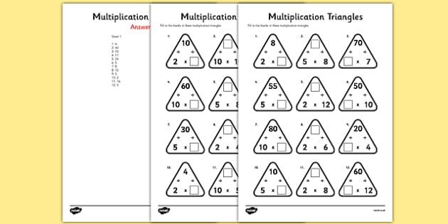 multiplication triangles worksheet  worksheet   and  times tables multiplication triangles worksheet  worksheet   and  times tables   multiplication triangles