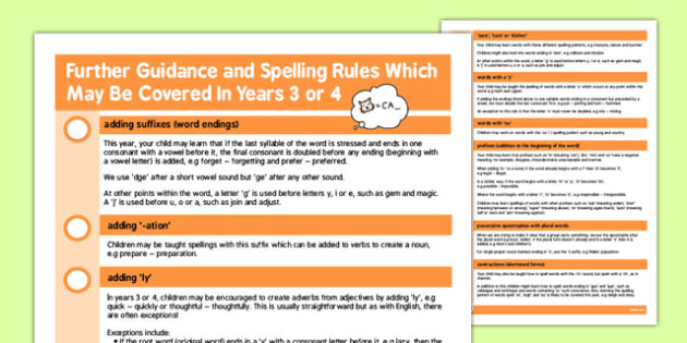 Parent Guidance for Spelling in Year 3-4 - parent, guidance