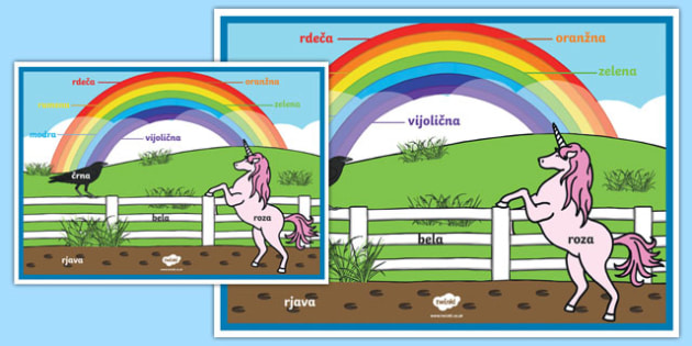 Rainbow colours poster - Slovenian