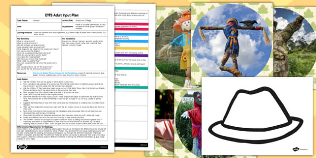 Scarecrow Collage EYFS Adult Input Plan and Resource Pack