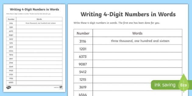 place value writing 4 digit numbers in words worksheet worksheet scottish. Black Bedroom Furniture Sets. Home Design Ideas
