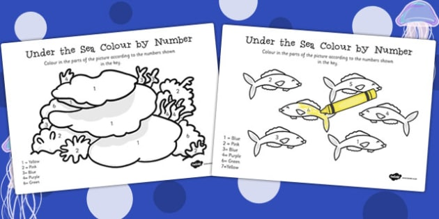 Under the Sea Colour by Number - under the sea, colour, number