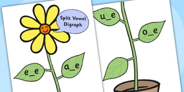 Split Vowel Cur-Out Diagraph Display Flower - vowels, vowel worksheet, split vowels, themed vowel worksheet, flower worksheet, vowel game, vowel puzzle, game