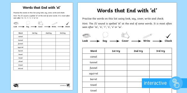 year 2 spelling practice 39 el 39 endings activity sheet ks1. Black Bedroom Furniture Sets. Home Design Ideas