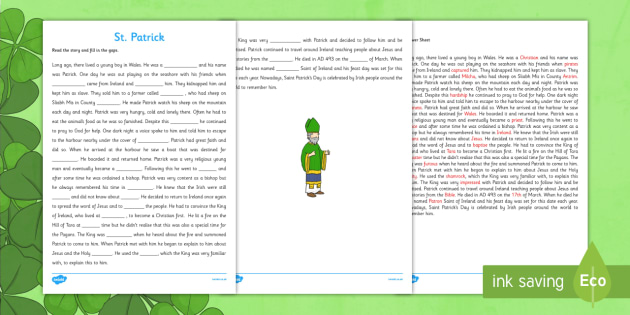 Saint Patrick Third and Fourth Class Reading Comprehension Activity - gaeilge, saint patrick, comprehension, activities, third, fourth