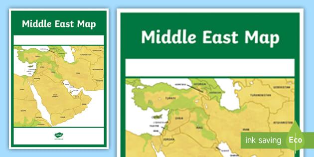 Middle East Map A4 Display Poster - UAE, ADEC, MOE, gcc ...