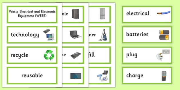 Waste Week 2016 Word Cards - Waste Week, Eco-schools, WEEE, waste electrical and electronic equipment, technology, recycle, reuse, word cards