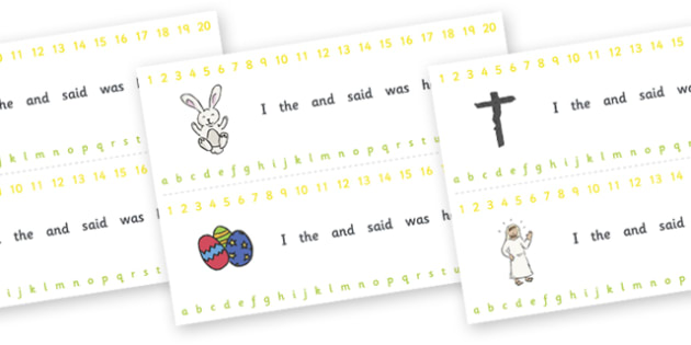 Combined Alphabet and Number Strips (Easter) - Easter, Alphabet, Numbers, Writing aid, Easter, bible, egg, Jesus, cross, Easter Sunday, bunny, chocolate, hot cross buns