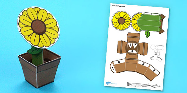 Flower Pot Paper Model - flower pot, paper, model, craft, flower