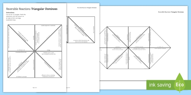 Reversible Reactions (HT) Tarsia Triangular Dominoes - Tarsia, gcse, chemistry, reversible reactions, reaction, equilibrium, rates of reaction, le chatelie, plenary activity