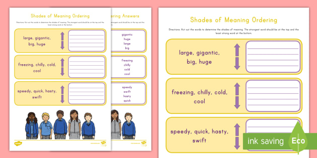 Shades of Meaning Ordering Worksheet / Worksheet - Shades of ...