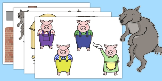 The Three Little Pigs Story Cut Outs - the three little pigs, cut-outs, cutouts, display cutouts, images, pictures, display pictures, display images