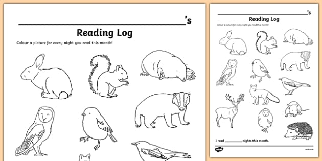 Woodland Animal Themed Colour In Reading Log - woodland animal, colour in, reading log