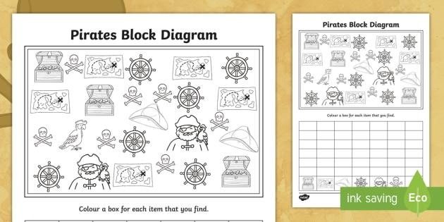 new pirates themed block diagram worksheet pirate. Black Bedroom Furniture Sets. Home Design Ideas