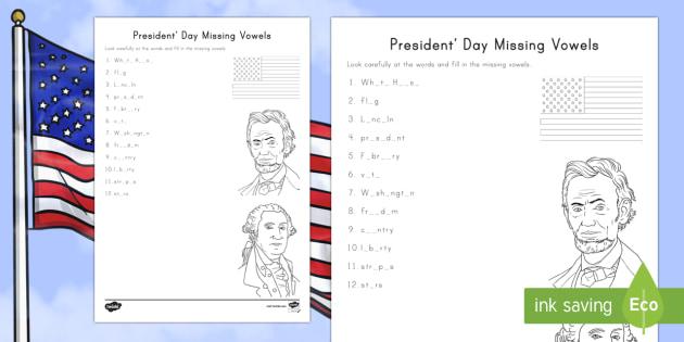 Presidents Day Missing Vowels Worksheet Activity Sheet
