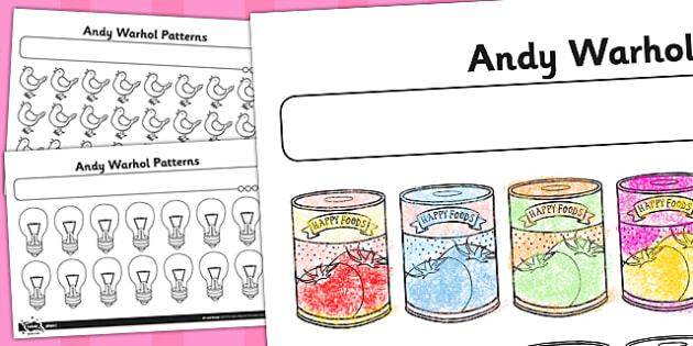 Activity Sheet Andy Warhol Patterns - andy warhol, patterns, worksheet