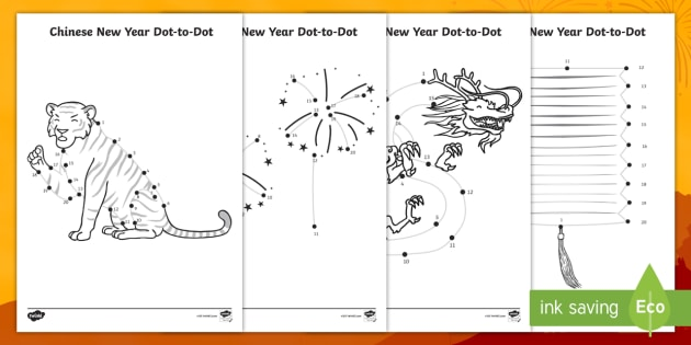 Chinese New Year Numbers To 20 Dot To Dot Worksheet / Worksheet