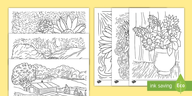 * NEW * Van Gogh-Themed Colouring Pages
