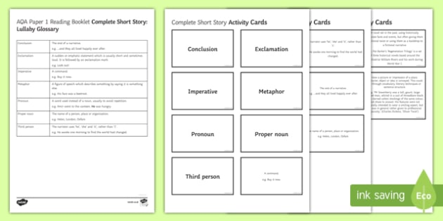 Complete Short Story Glossary Resource Pack