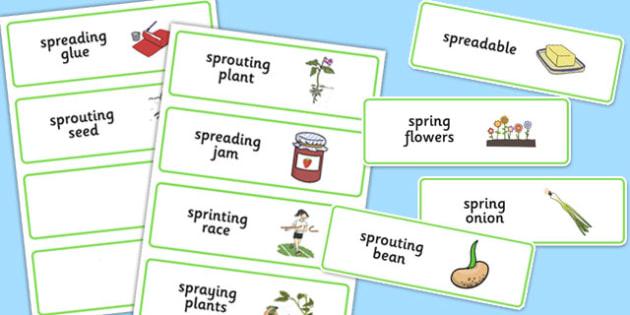 Three Syllable SPR Word Cards - sen, sound, spr sound, spr, three syllable, word cards