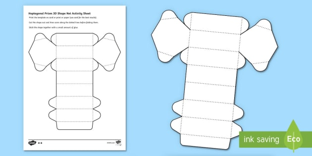 Heptagonal  Prism 3D Shape Net Worksheet / Activity Sheet