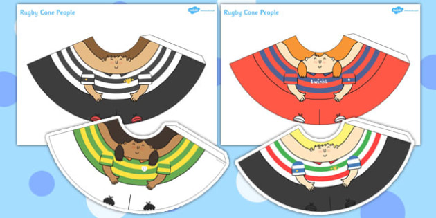 Rugby Cone Characters - rugby, cone, characters, craft, activity