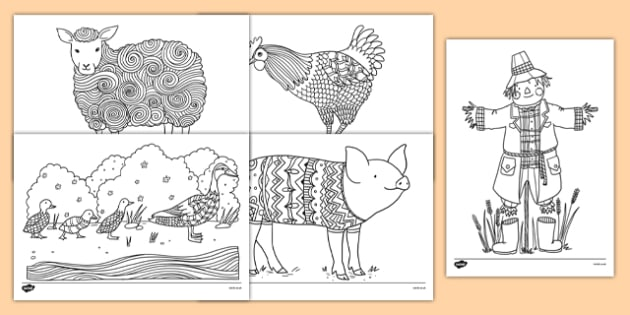 Farm-Themed Mindfulness Colouring Sheets - farm, mindfulness, colouring sheets, colour, de-stress, calm down