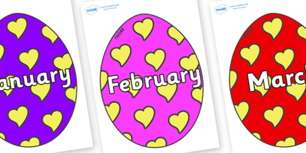 Months of the Year on Easter Eggs (Hearts) - Months of the Year, Months poster, Months display, display, poster, frieze, Months, month, January, February, March, April, May, June, July, August, September