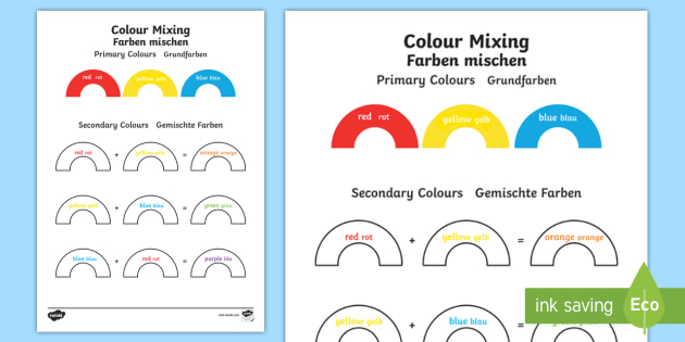 colour mixing worksheet english german colours painting art eal german. Black Bedroom Furniture Sets. Home Design Ideas