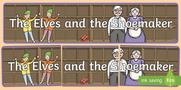 The Elves and the Shoemaker Display Banner - Traditional tale, tales, elves, elf, shoemaker, shoes, workshop, story, fairytale